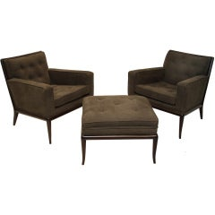 Pair of lounge chairs and ottoman by Robsjohn Gibbings