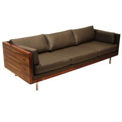 Beautiful Roswood case sofa with sap grain by Milo Baughman