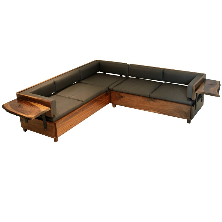 Custom Live Edge Walnut And Gray Leather Sectional By
