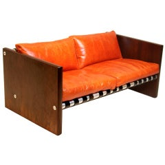 Mid-Century Modern Brazilian Hardwood Leather Sling Sofa
