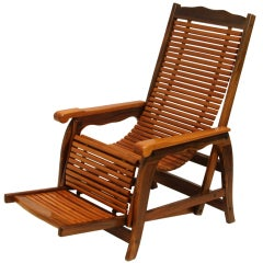Organic Modern Brazilian Reclining Slatted Lounge Chair with Sculptural Arms