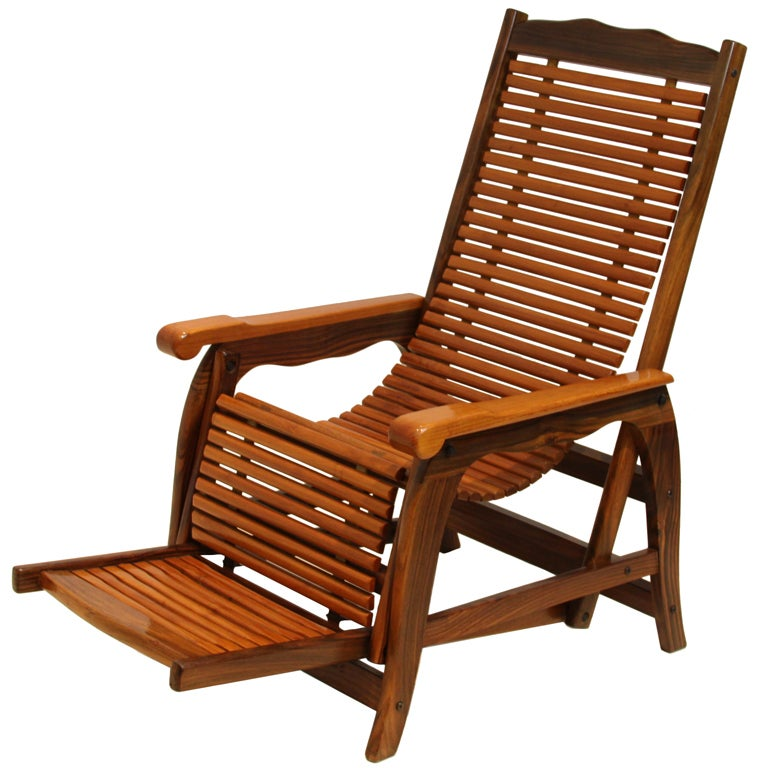 Brazilian Rosewood Reclining Slatted Hammock Lounge Chair with Sculptural Arms 1  sc 1 st  1stDibs & Brazilian Rosewood Reclining Slatted Hammock Lounge Chair with ... islam-shia.org