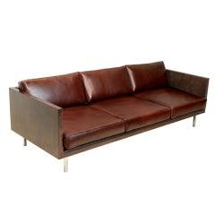 Milo Baughman Burled Walnut finish leather Case Sofa