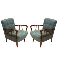 Pair of Early Danish Modern Spindle Armchairs with Tufted Teal Tweed Back