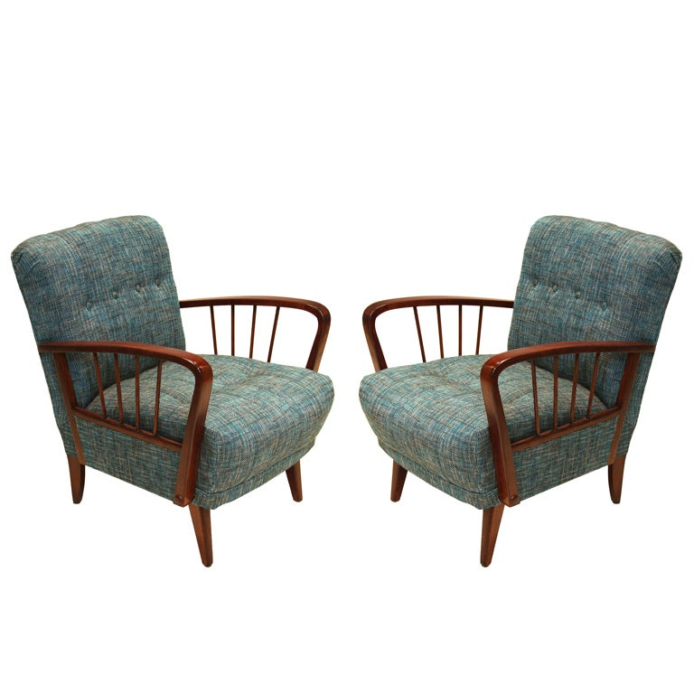 Danish Modern  Birch Spindle Armchairs with Tufted Teal Tweed Back