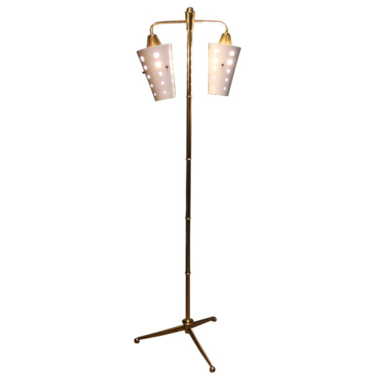 Brazilian polished brass floor lamp with metal white for Pierced metal floor lamp