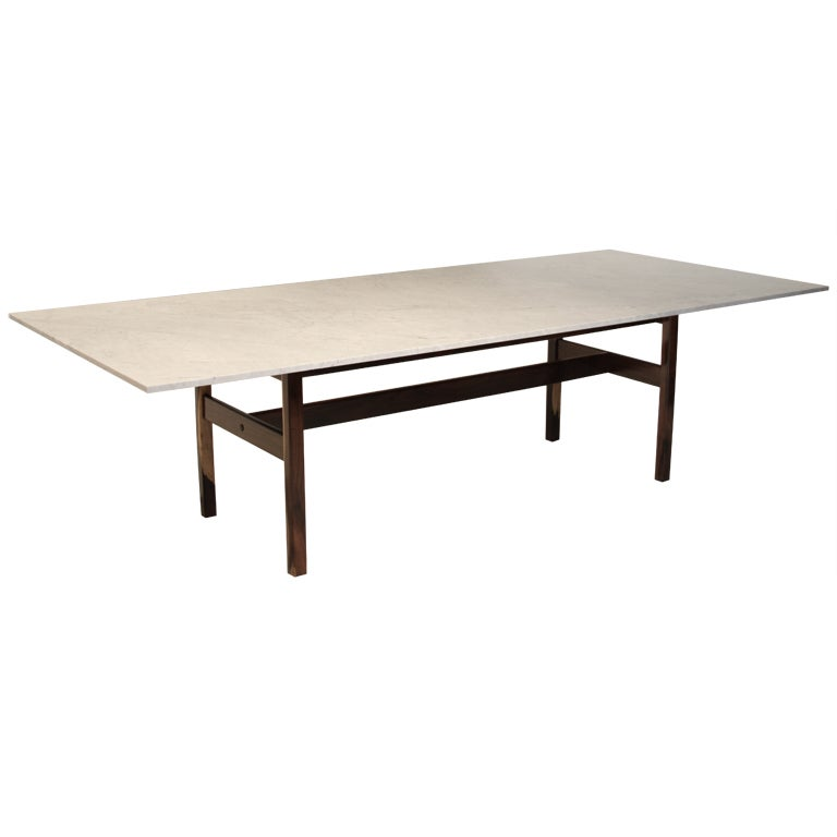sergio rodrigues rosewood and carrera marble dining table