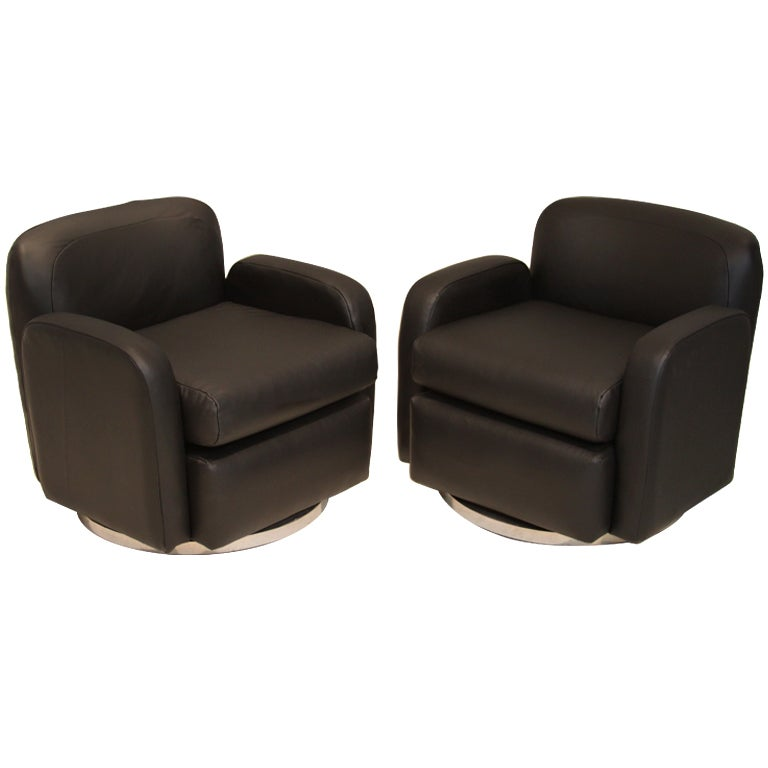 Pair Of Petite Lack Leather Swivel Arm Chairs By Milo Baughman At 1stdibs
