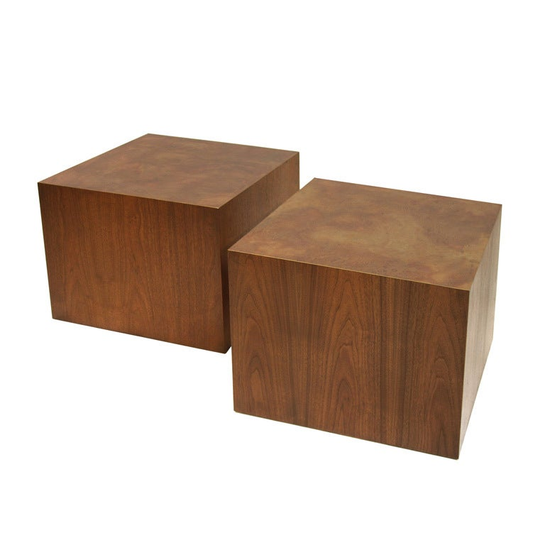 Pair Of Large Bronze Topped Harry Lunstead Walnut Cubes At 1stdibs