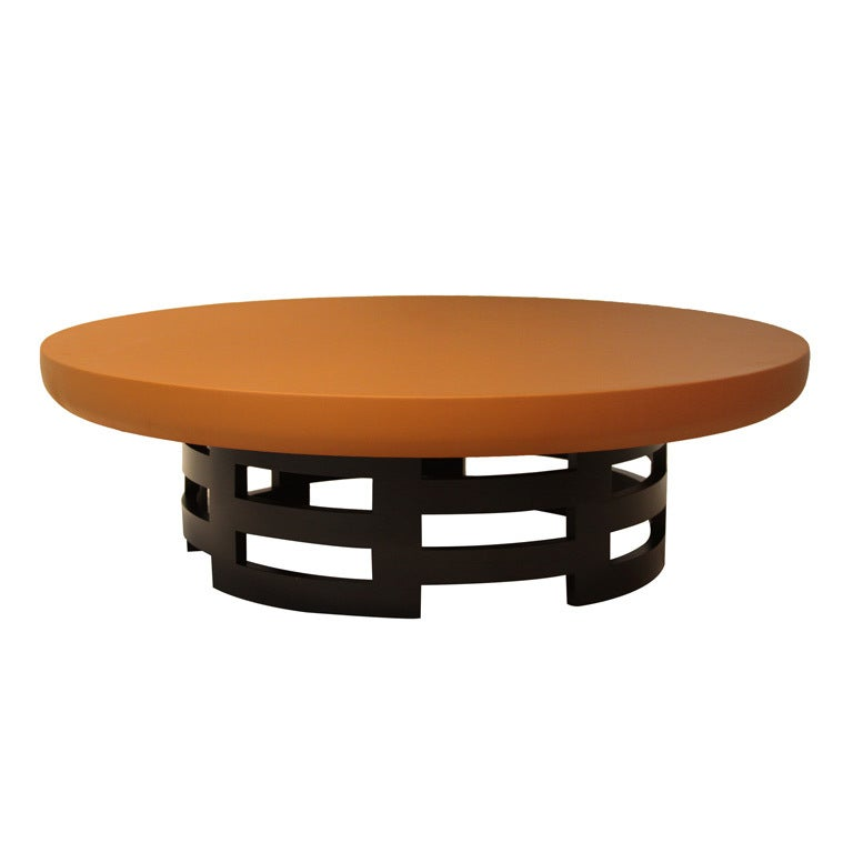 this kittinger coffee table with custom caramel leather top is no