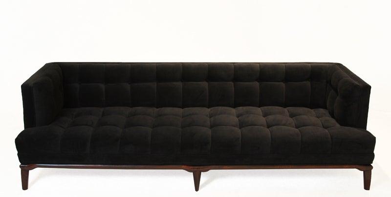 Custom Thomas Hayes Studio Sophia Sofa In Black Velvet And