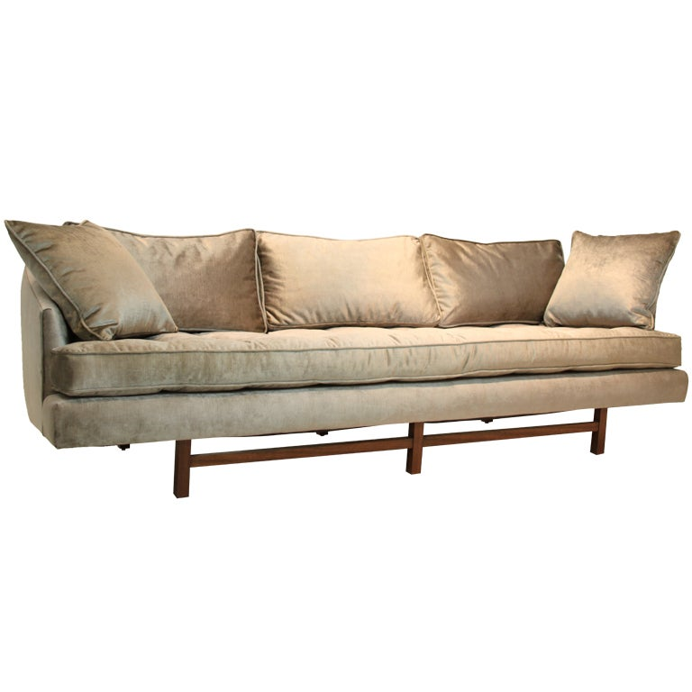 Bronze silk velvet sofa in the style of Harvey Probber