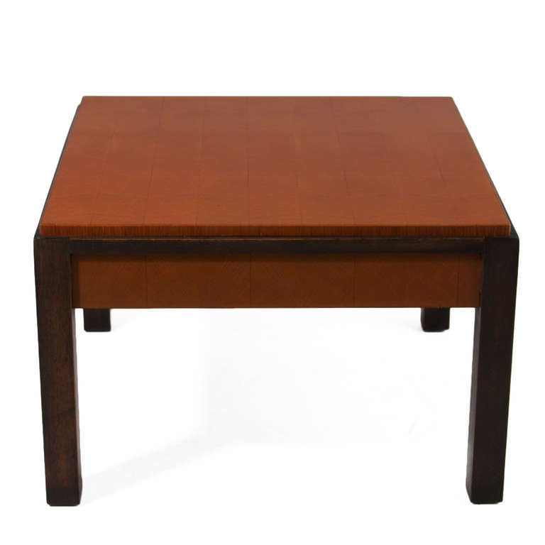 Pair Of Oak Parquetry And Mahogany Side Tables By