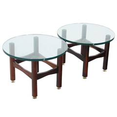 19th Century Brazilian Rosewood and Glass Side Tables