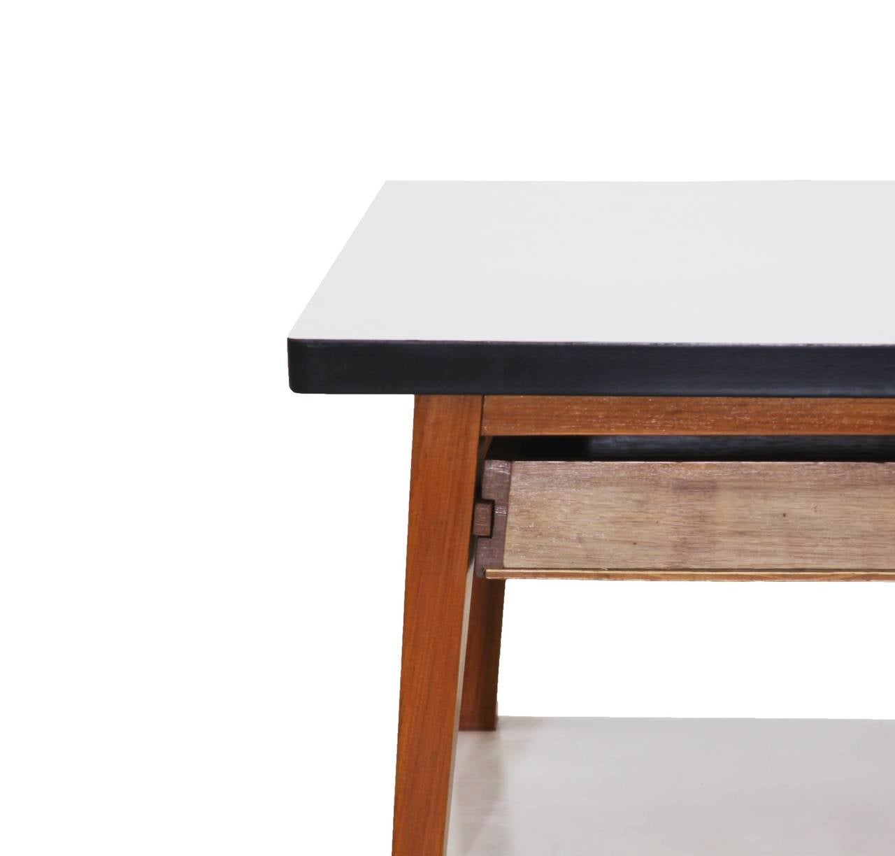 Pair of Vintage Brazilian Wood and White Formica Side Tables or Night Stands at 1stdibs