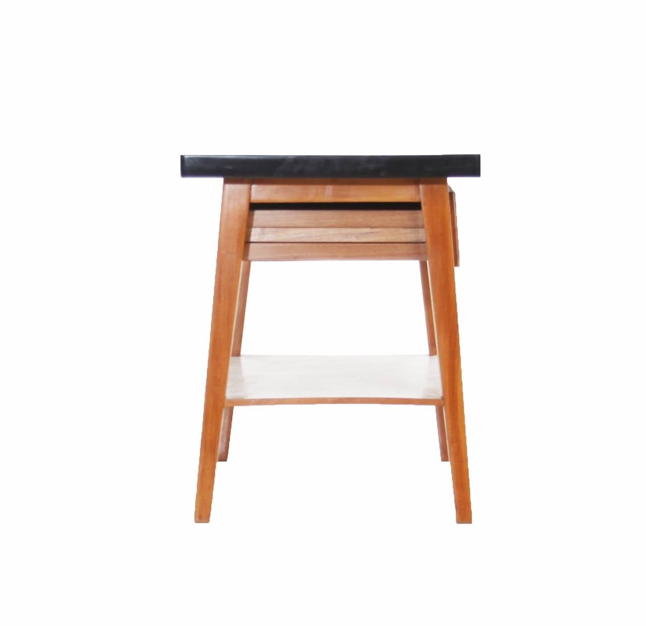 Pair of vintage brazilian wood and white formica side tables or night
