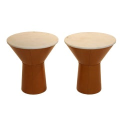 Conical Leather Side Table With Cream Travertine Top