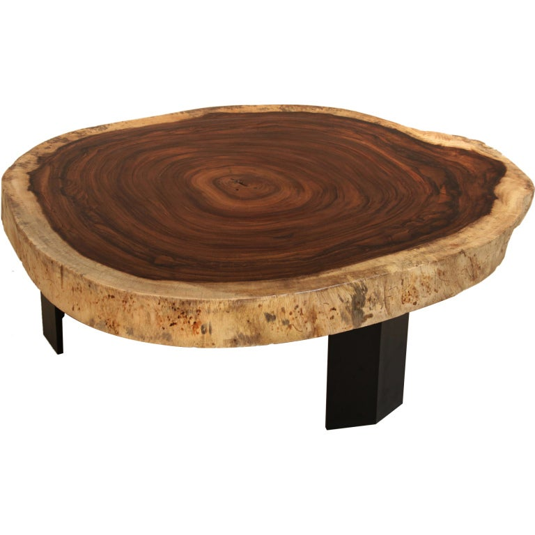 Custom Brass Coffee Table: Custom Caro Caro Coffee Table With Angular Metal Base By