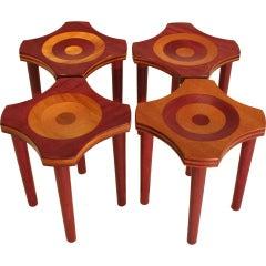 "Set of 4 Brazilian ""Lotus"" stools by Rodrigo Calixto from the ""Relevos"" Series"