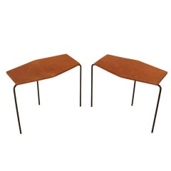 Pair of leather and wrought iron angular side tables