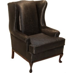 Traditional Wingback Chair with Faux Sleek Black Sharkskin Fabric & Walnut Base