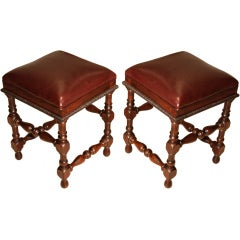 Pair of Sculptural Dom Pedro Stools with Leather Seats