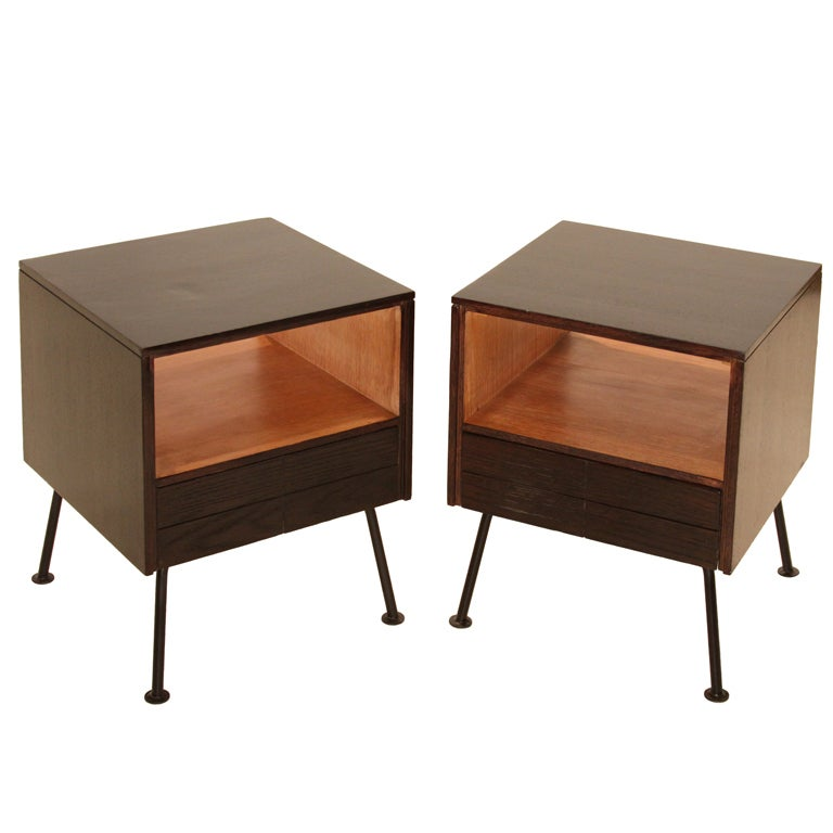 Pair Of Oak And Iron Nightstands By Raymond Loewly For Mengel Co At 1stdibs