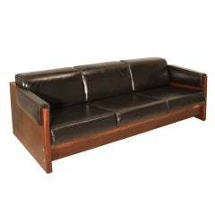 Forma Brazil Midcentury Macaranduba and Leather Wrapped Sofa