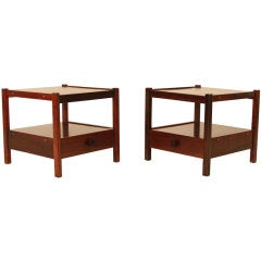 Pair of Celina Moveis Decoracoes Rosewood Side Tables