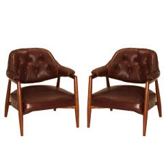 Pair of Walnut Monteverdi-Young leather tufted side chairs