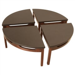 Black Leather Circular Carved Walnut Base Coffee Table in Four Parts