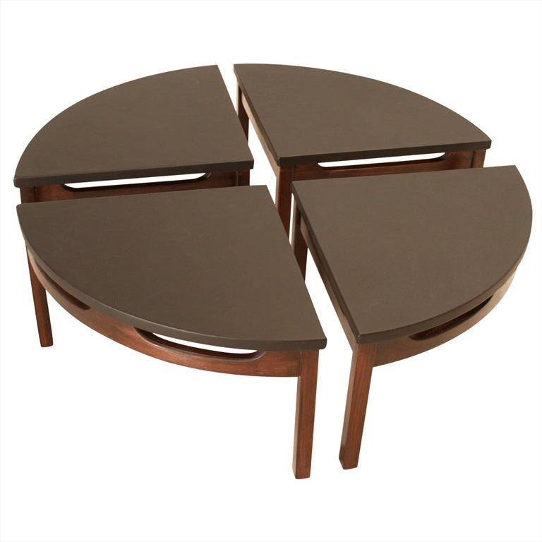Black leather circular carved walnut base coffee table in for Cocktail tables parts