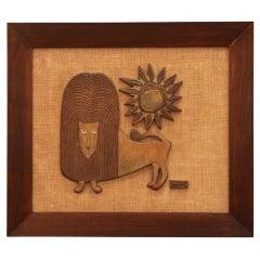 Raul Coronel Walnut Framed Ceramic Lion