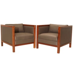 Pair of Walnut and Gray Leather Club Armchairs Attributed to Milo Baughman