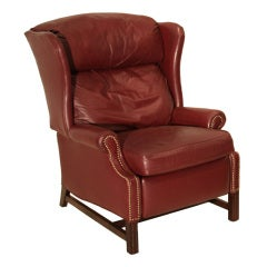Traditional Sculptural Wingback Leather, Mahogany and Brass Recliner