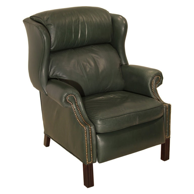 Wingback Chippendale Leather Recliner at 1stdibs