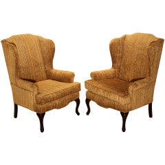 Pair of Striped Silk Combed Velvet Regency Wingback Chairs