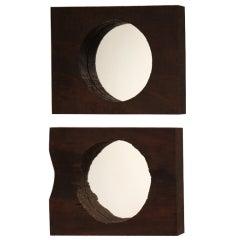 Pair of Salvaged Ipe Repurposed Circular Mirrors
