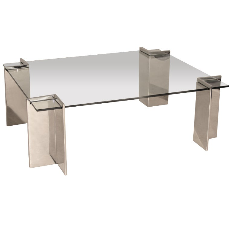 Polished Stainless Steel Coffee Table By Leon Rosen For
