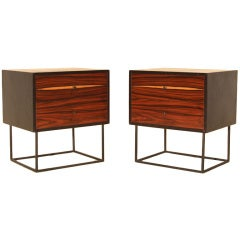 Pair of Custom Quadrar Leather Nightstands by Thomas Hayes Studio