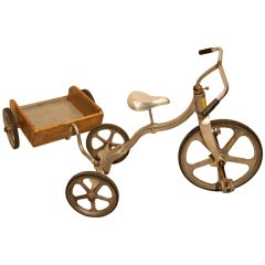 Vintage Aluminium Tricycle with Wood Cart