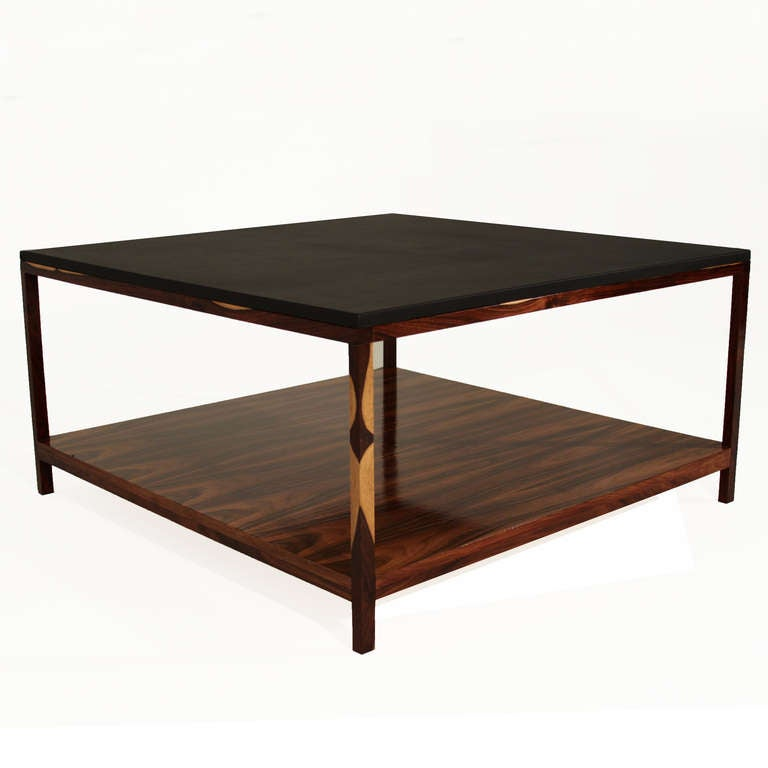 custom leather wrapped rosewood coffee table by thomas hayes studio at