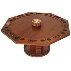 Craft convertible Poker/dining table with solid Walnut inserts