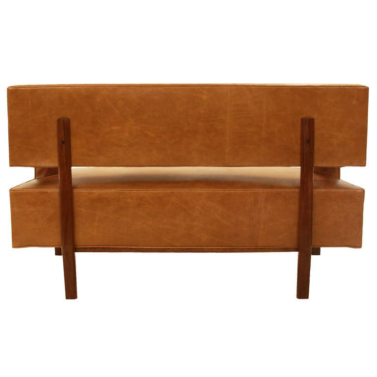 Leather Sophia Settee by Thomas Hayes Studio For Sale