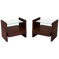 Pair of Rosewood and Glass Side Tables or Nightstands by Celina Moveis