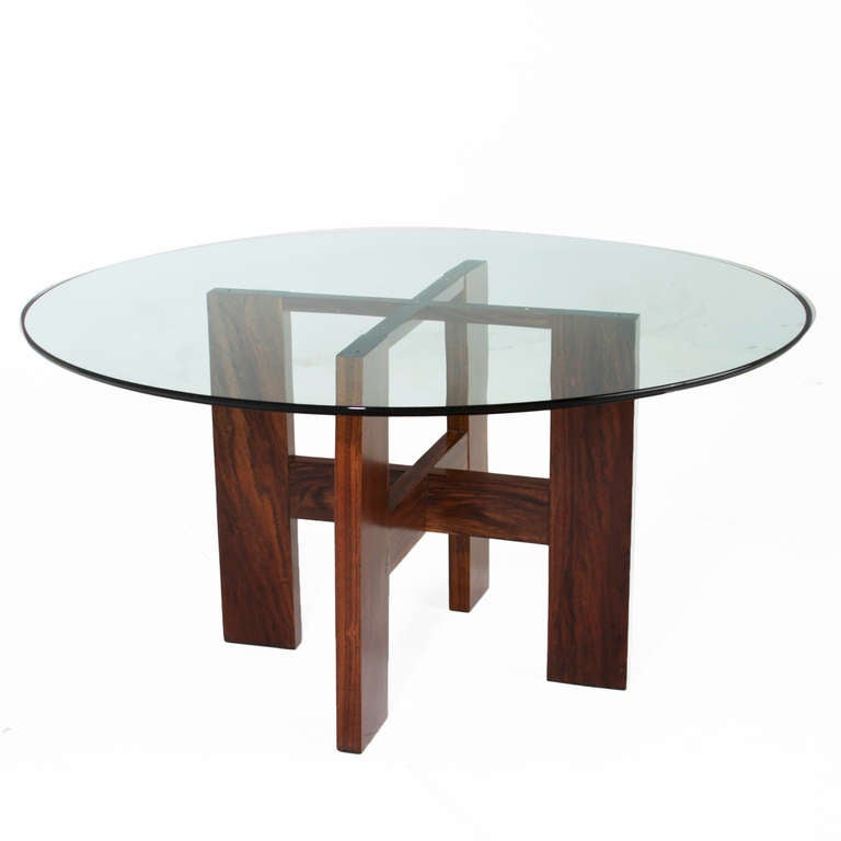 Brazilian Ipe and Round Glass Table at 1stdibs : RWXtable2l from www.1stdibs.com size 768 x 768 jpeg 23kB