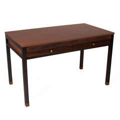 Vintage Brazilian Exotic Hardwood Desk with Leather Top and Feet