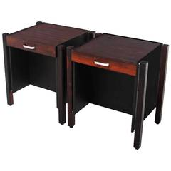 Pair of Leather and Rosewood Side Tables by Jorge Zalszupin
