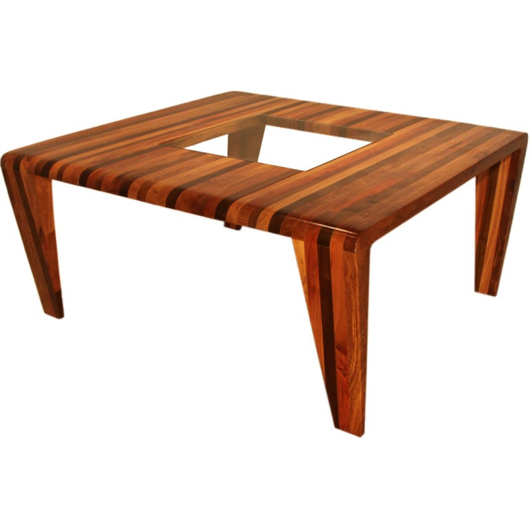 """Live Edge Solid Slab Of Tamboril Coffee Table By Tunico T: """"Uai"""" Dining Table With Inset Glass By Tunico T. At 1stdibs"""