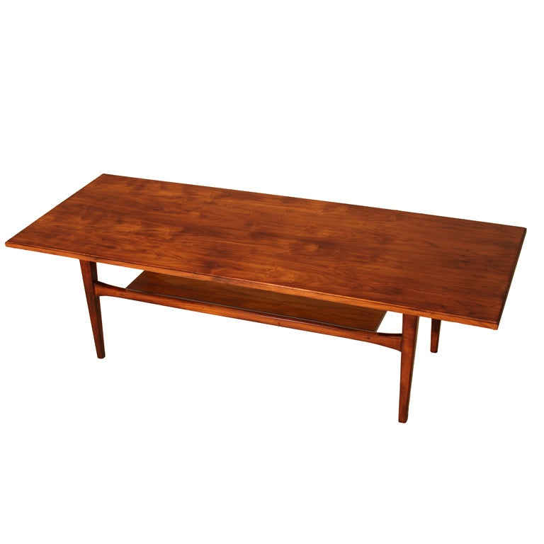 Mid-Century Brazilian Caviuna Coffee Table with Hand-Carved Tapered Legs